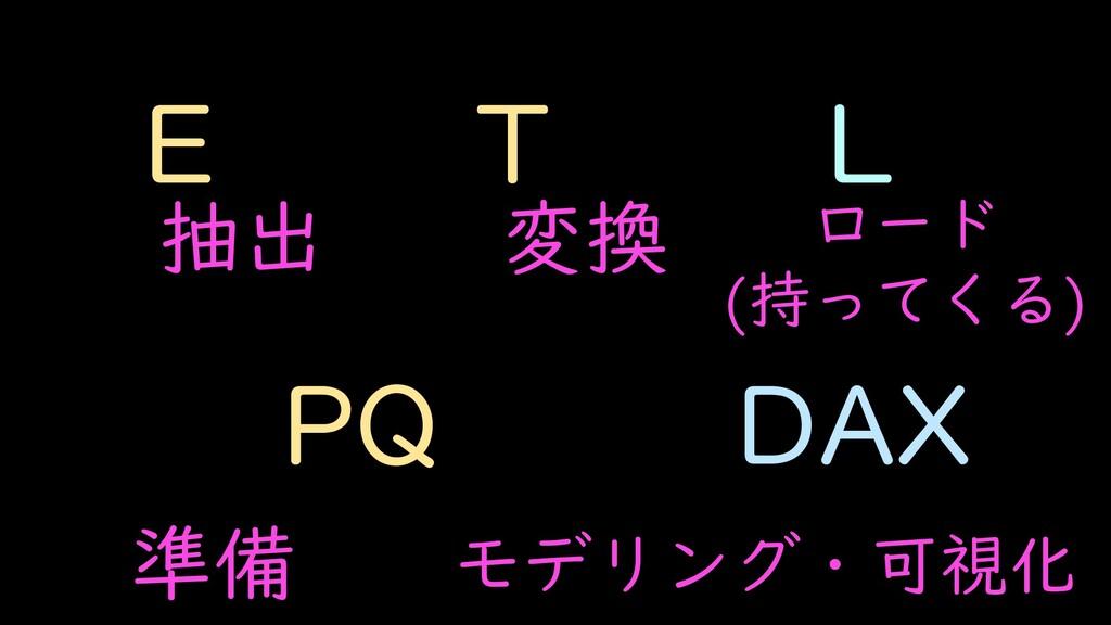 E T L PQ DAX 抽出 変換 ロード (持ってくる) 準備 モデリング・可視化