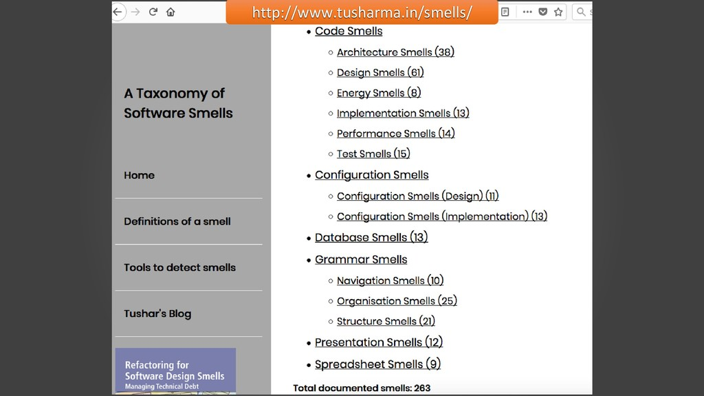 Smells: Types http://www.tusharma.in/smells/