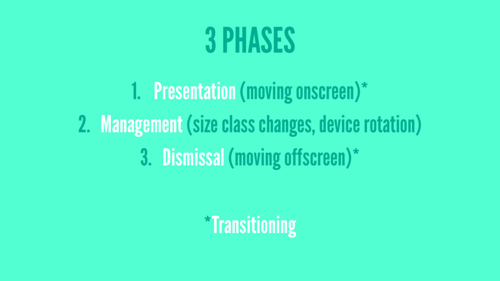 3 PHASES 1. Presentation (moving onscreen)* 2. ...