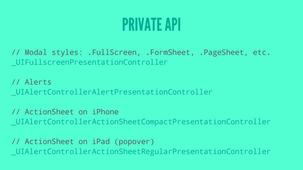 PRIVATE API // Modal styles: .FullScreen, .Form...