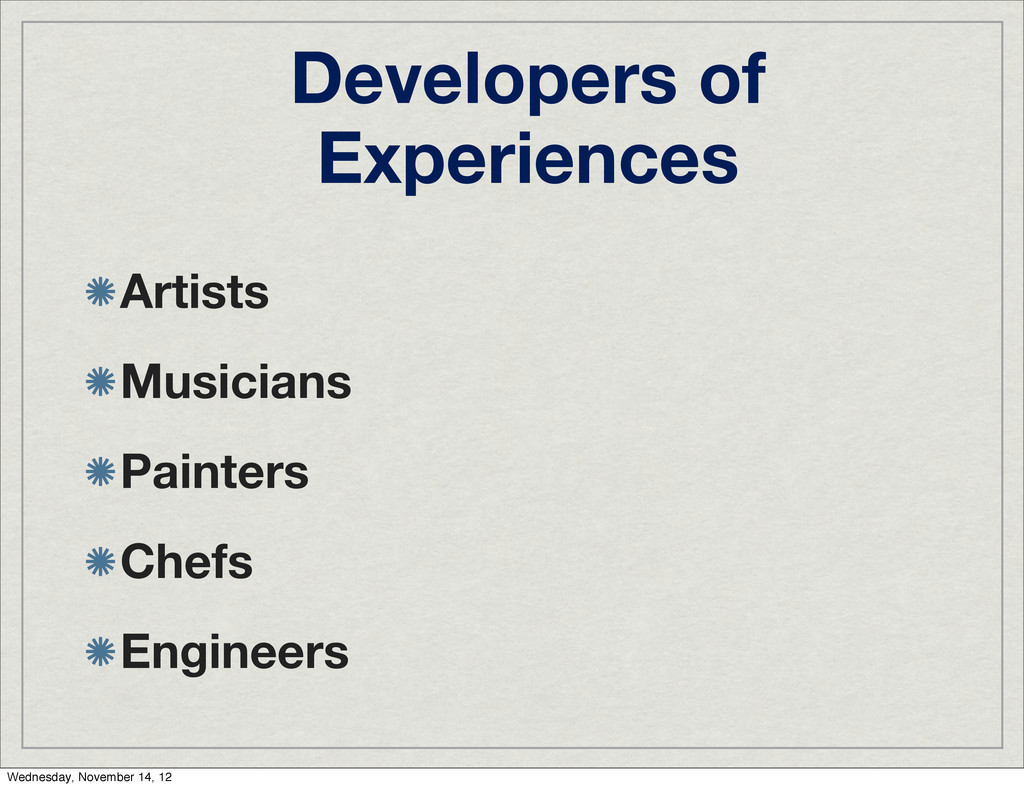 Developers of Experiences Artists Musicians Pai...