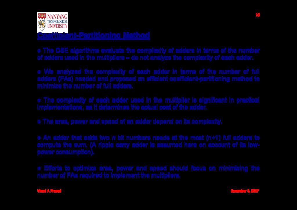 Vinod A Prasad December 6, 2007 16 Coefficient-...