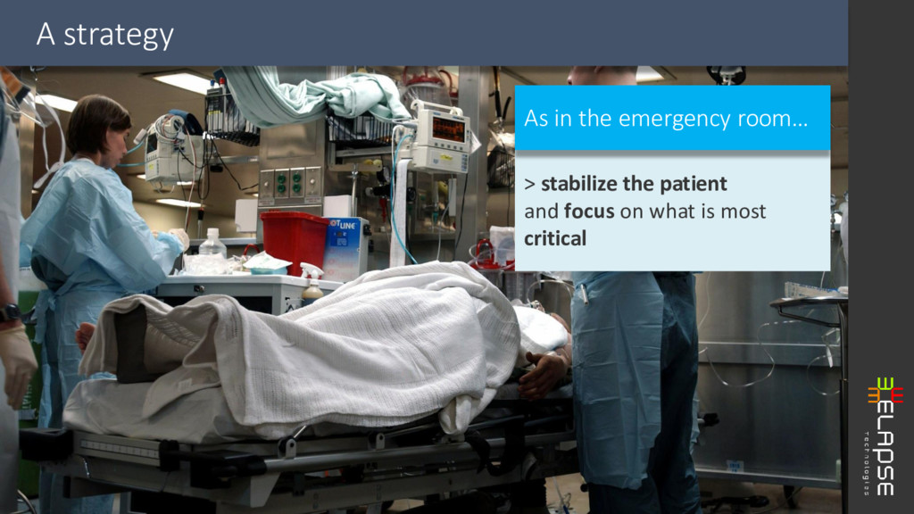 A strategy > stabilize the patient and focus on...