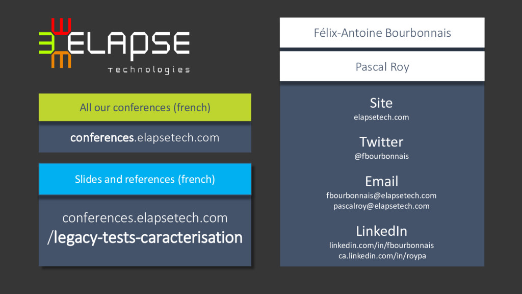 Site elapsetech.com Twitter @fbourbonnais Email...