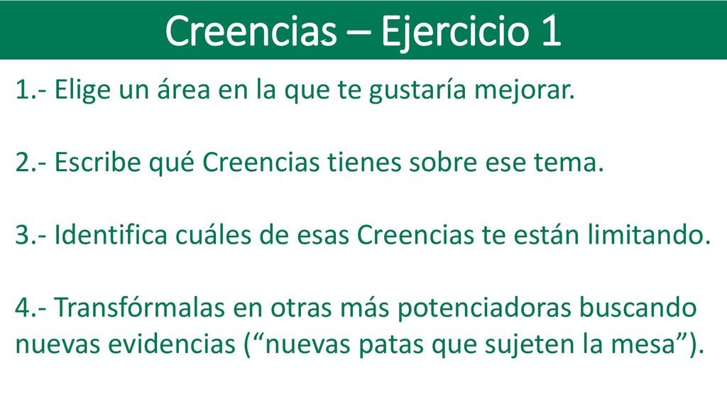 Creencias – Ejercicio 1 1.- Elige un área en la...