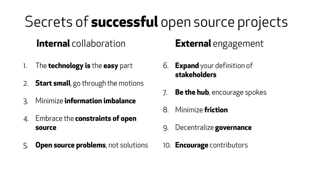 Secrets of successful open source projects 1. T...