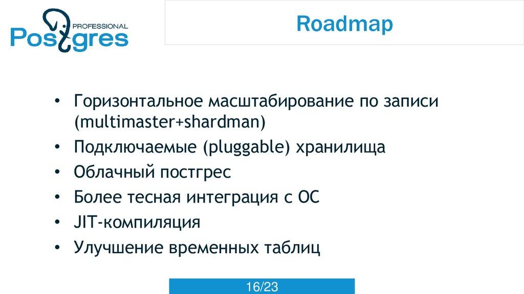 16/23 Roadmap • Горизонтальное масштабирование ...