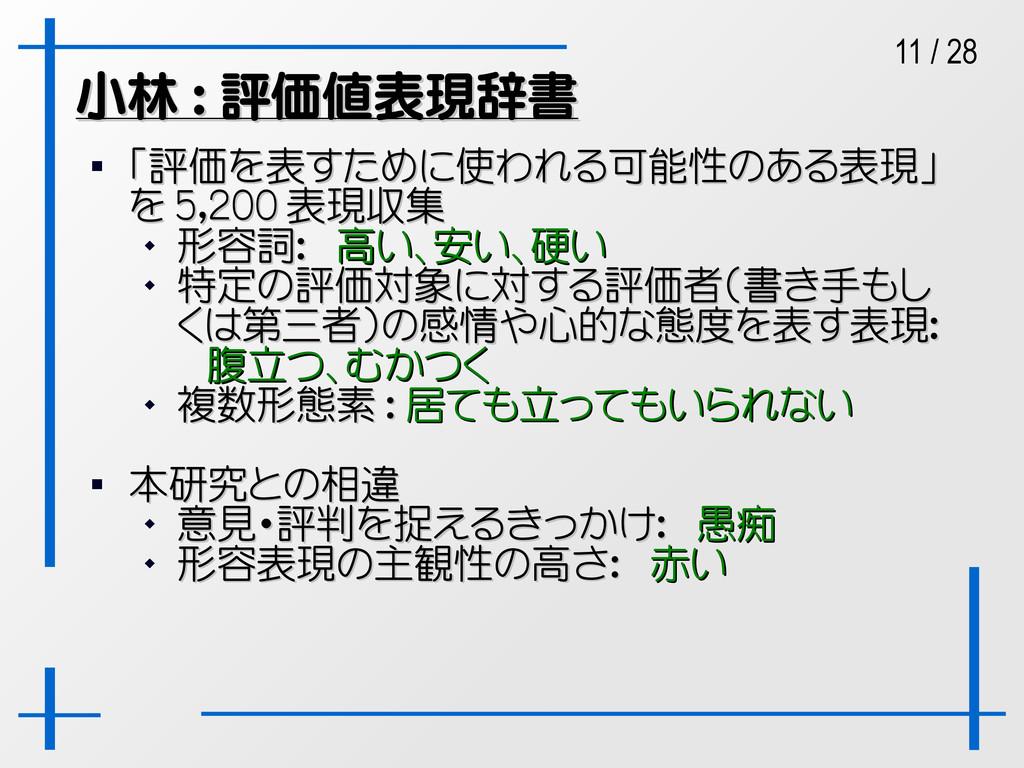 11 / 28 小林 : 評価値表現辞書 小林 : 評価値表現辞書  「評価を表すために使わ...