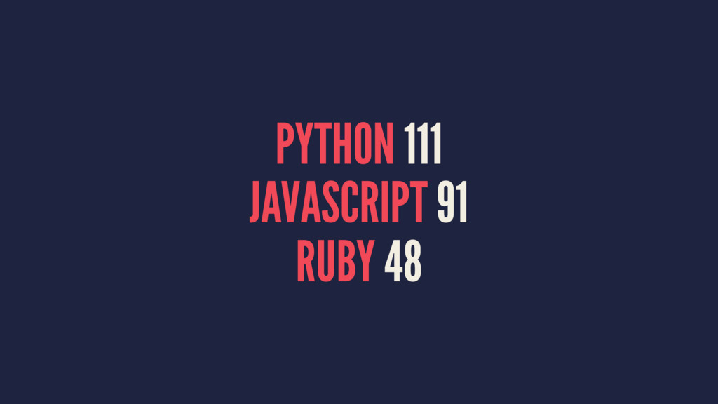PYTHON 111 JAVASCRIPT 91 RUBY 48