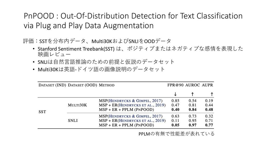 評価:SSTを分布内データ、Multi30KおよびSNLIをOODデータ • Stanford...