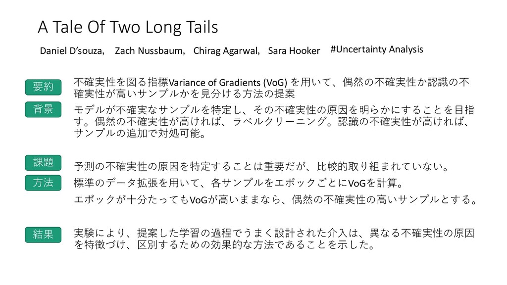 A Tale Of Two Long Tails 不確実性を図る指標Variance of G...