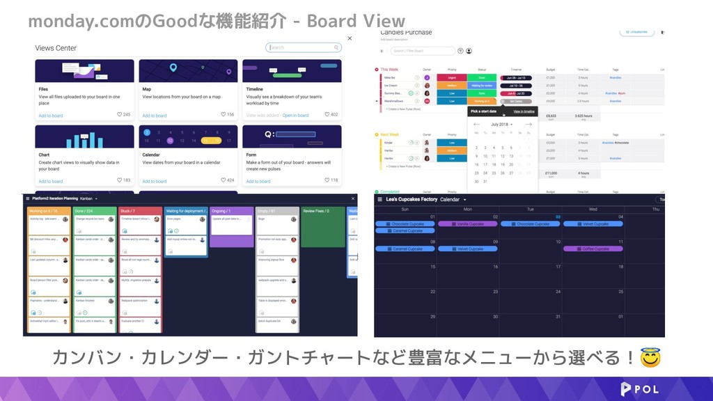 monday.comのGoodな機能紹介 - Board View カンバン・カレンダー・ガン...