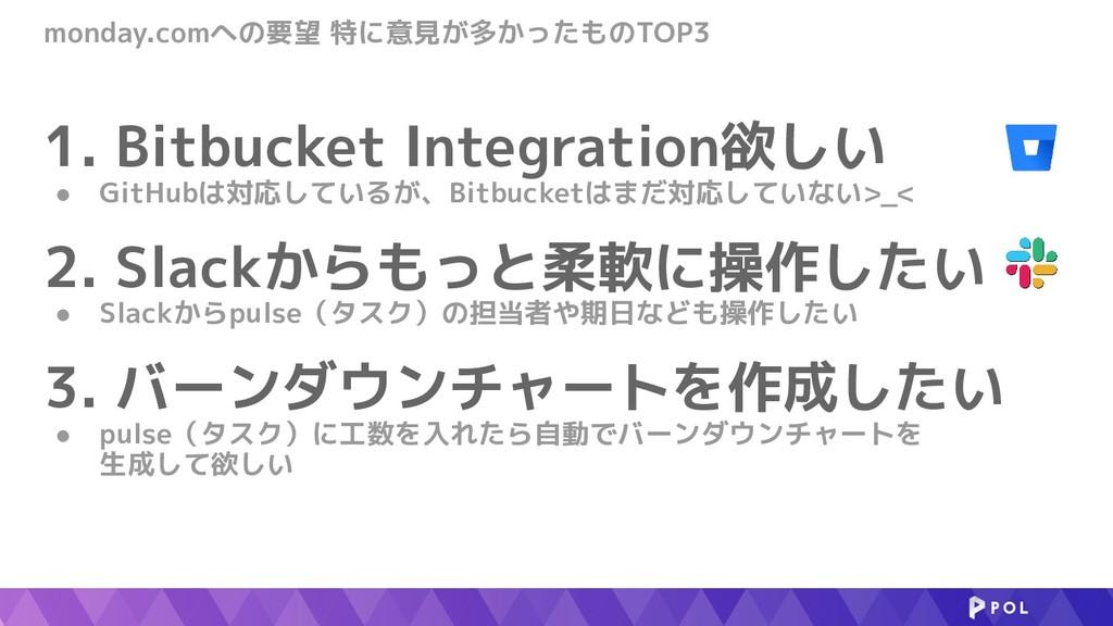 monday.comへの要望 特に意見が多かったものTOP3 1. Bitbucket Int...
