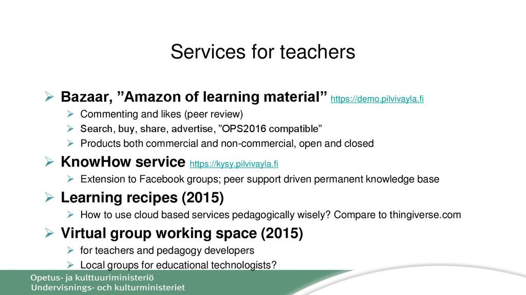 """Services for teachers  Bazaar, """"Amazon of lear..."""