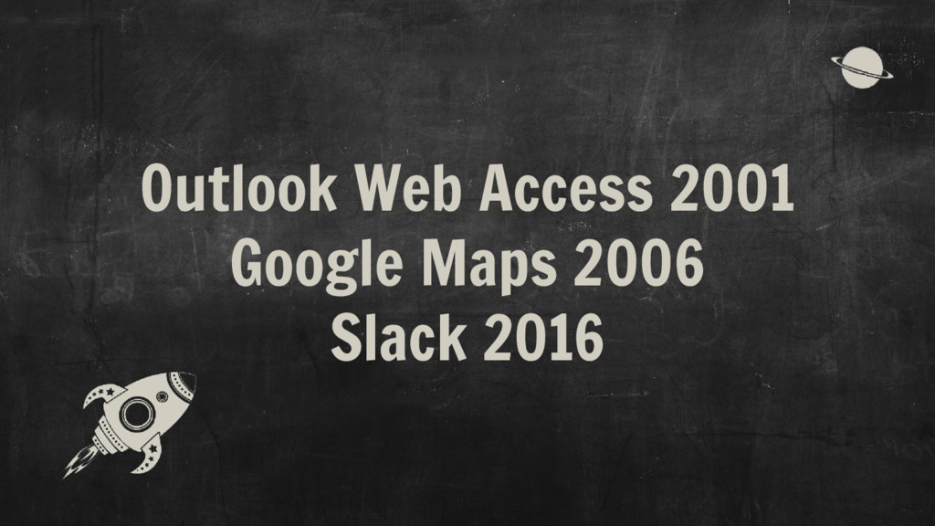Outlook Web Access 2001 Google Maps 2006 Slack ...