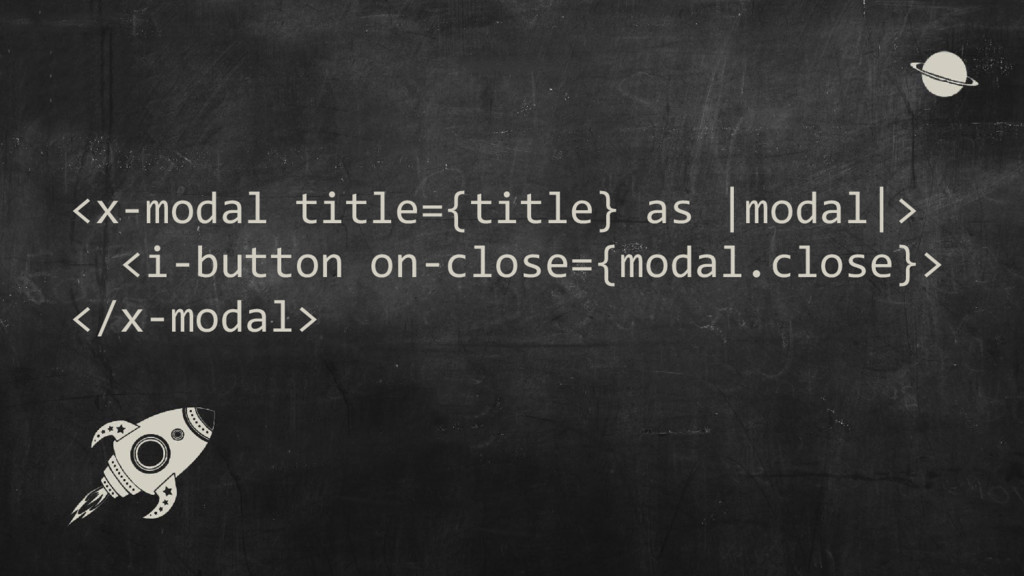 <x-modal title={title} as |modal|> <i-button on...