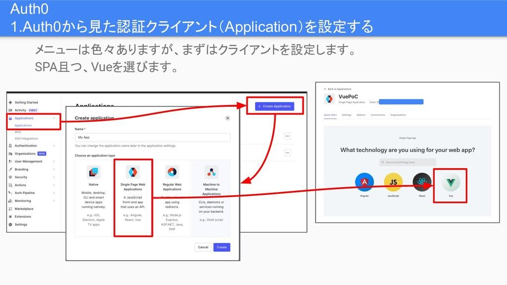Auth0 1.Auth0から見た認証クライアント(Application)を設定する メニュ...