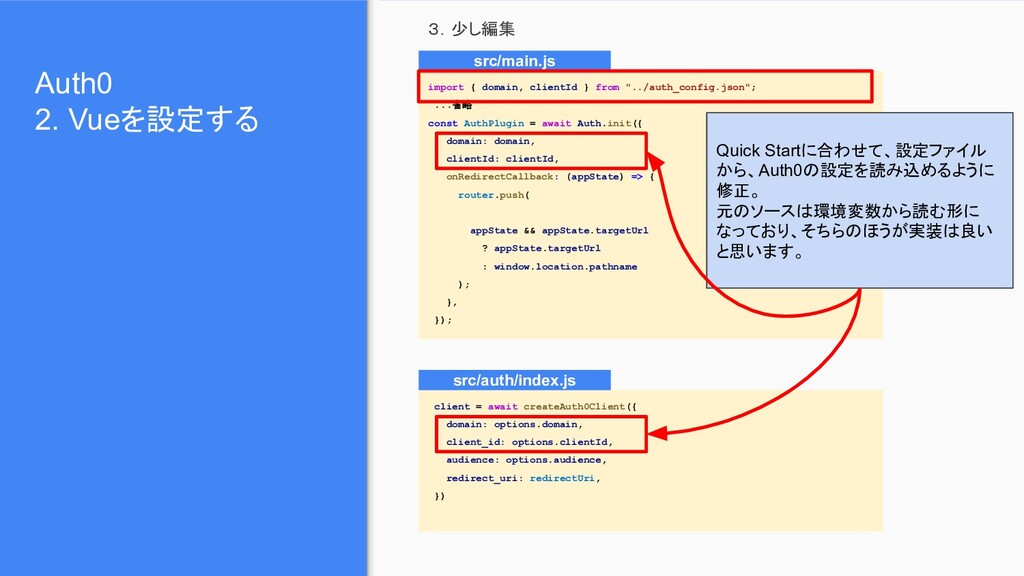 Auth0 2. Vueを設定する 3.少し編集 import { domain, clien...