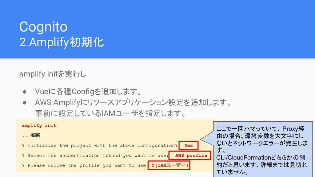 Cognito 2.Amplify初期化 amplify initを実行し ● Vueに各種C...