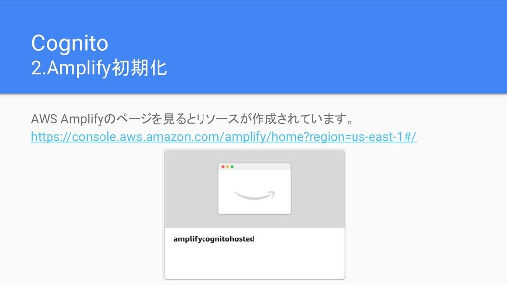 Cognito 2.Amplify初期化 AWS Amplifyのページを見るとリソースが作成...