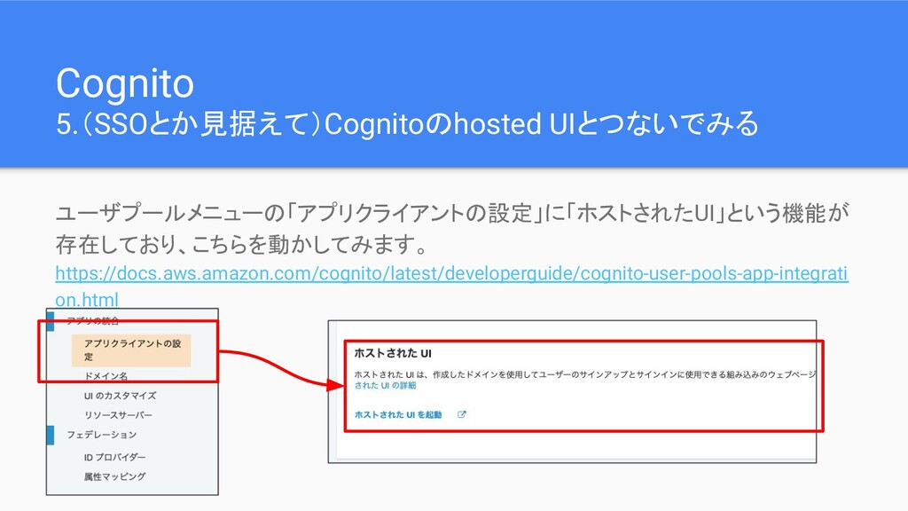 Cognito 5.(SSOとか見据えて)Cognitoのhosted UIとつないでみる ユ...