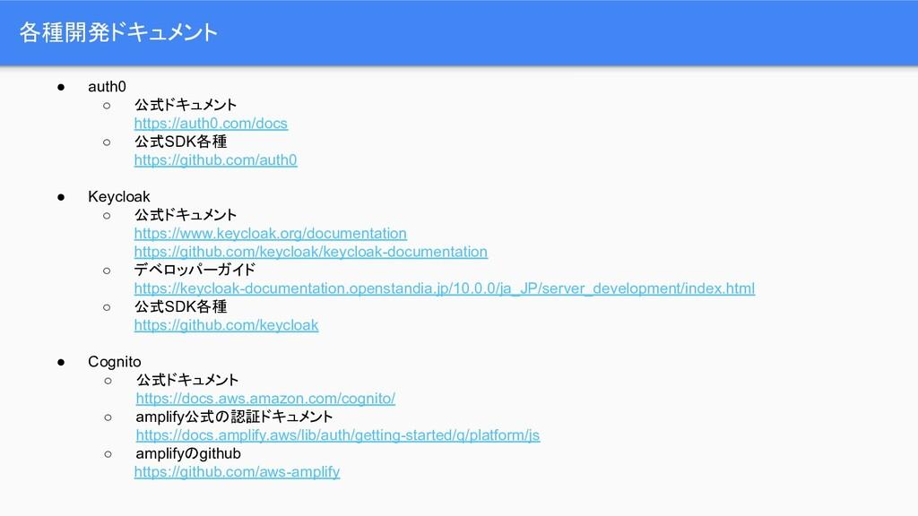 各種開発ドキュメント ● auth0 ○ 公式ドキュメント https://auth0.com...