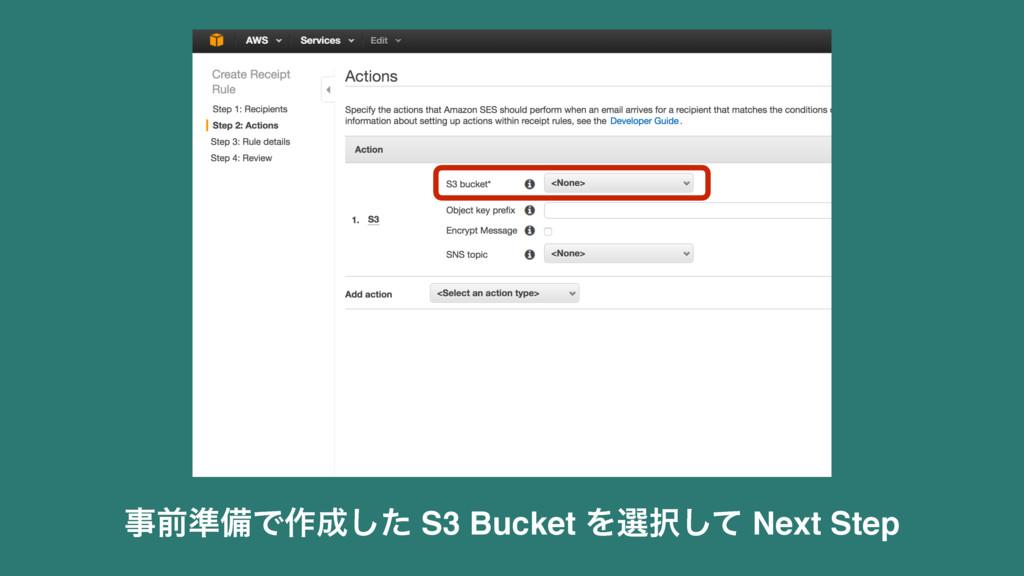 લ४උͰ࡞ͨ͠ S3 Bucket Λબͯ͠ Next Step