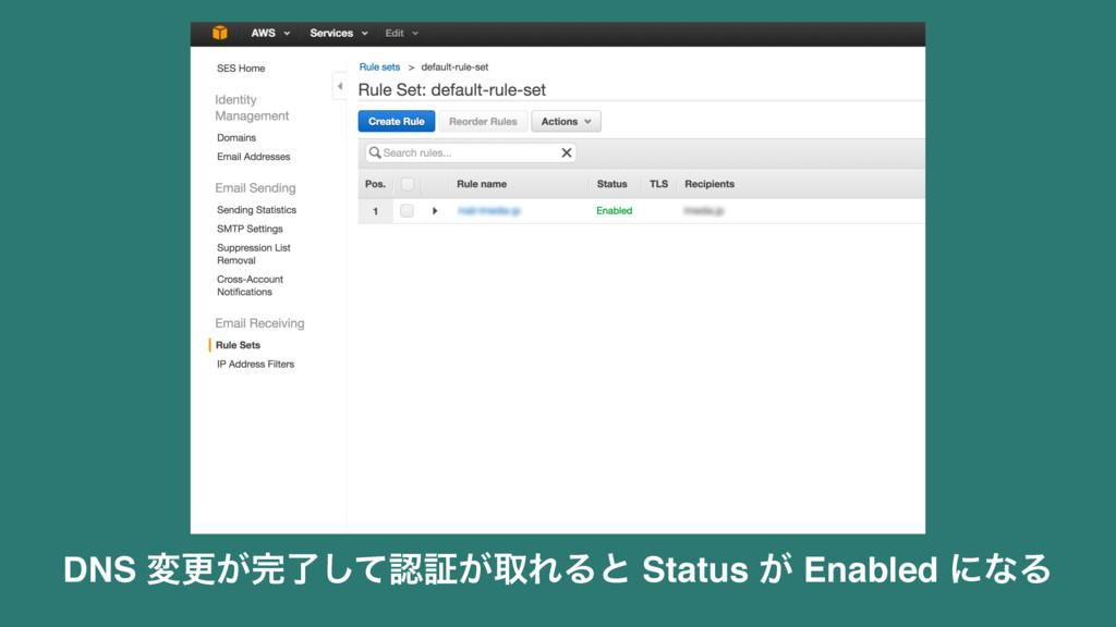 DNS มߋ͕ྃͯ͠ূ͕औΕΔͱ Status ͕ Enabled ʹͳΔ