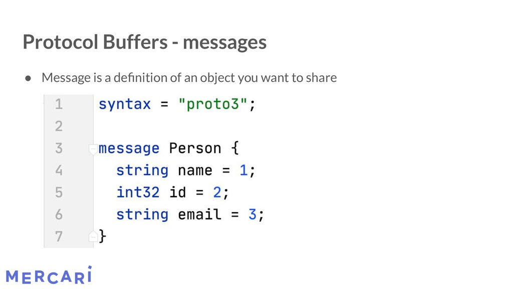 Protocol Buffers - messages ● Message is a defin...
