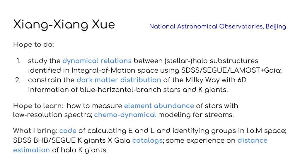 Xiang-Xiang Xue National Astronomical Observato...