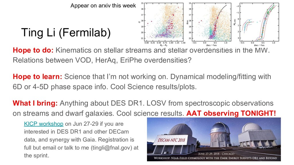 Ting Li (Fermilab) Hope to do: Kinematics on st...