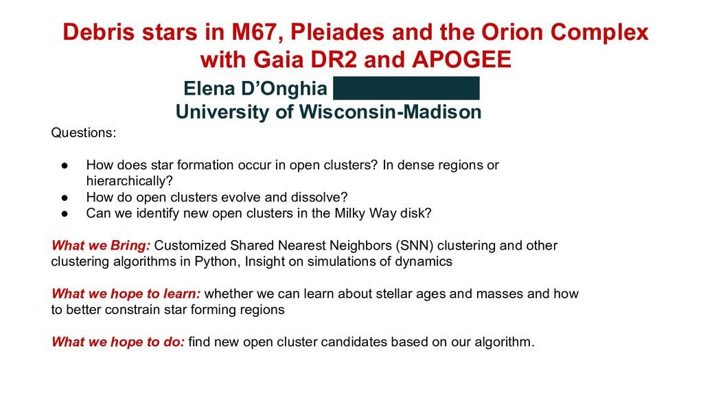 Debris stars in M67, Pleiades and the Orion Com...