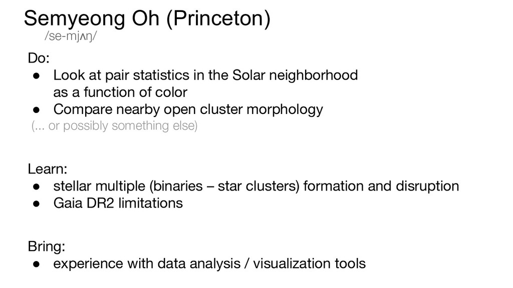 Do: ● Look at pair statistics in the Solar neig...