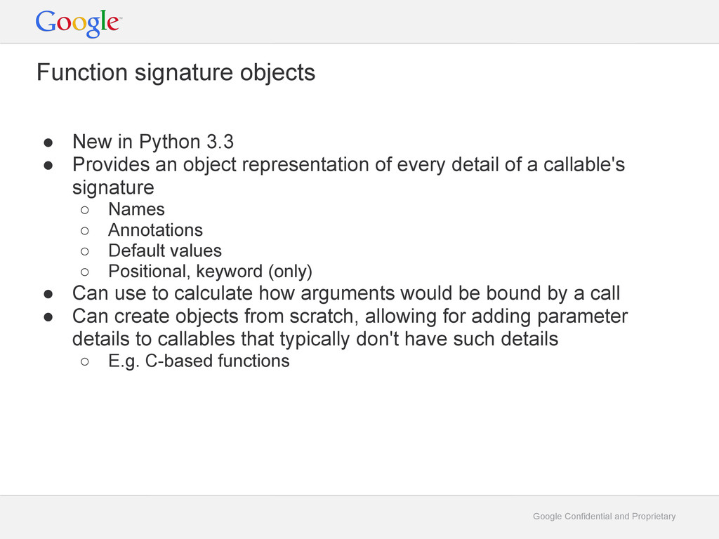 Google Confidential and Proprietary Function si...