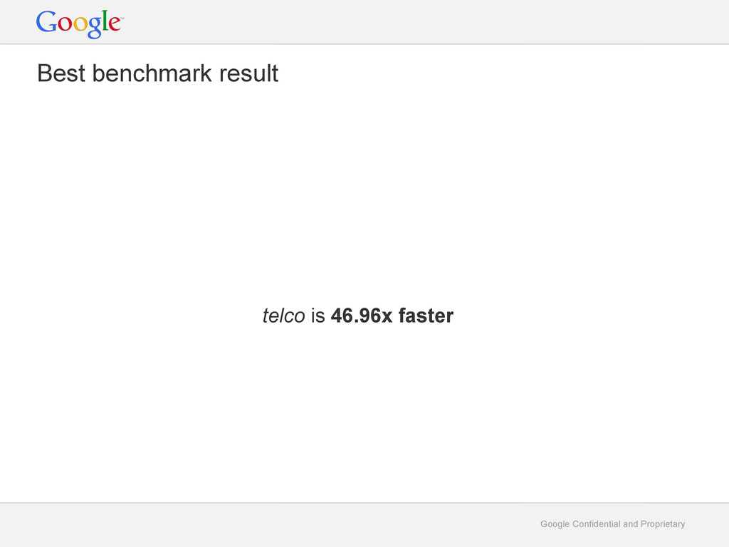 Google Confidential and Proprietary Best benchm...