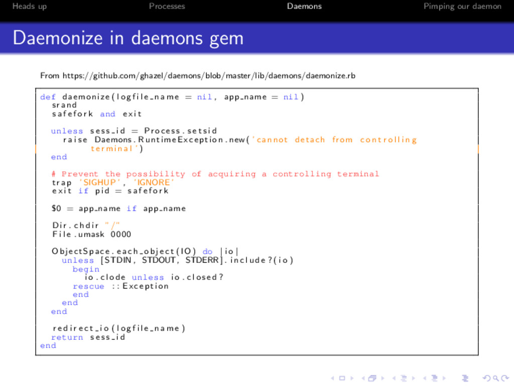 Heads up Processes Daemons Pimping our daemon D...