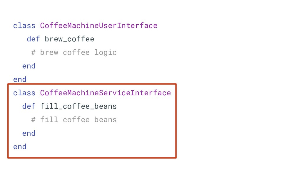 class CoffeeMachineUserInterface def brew_coffe...