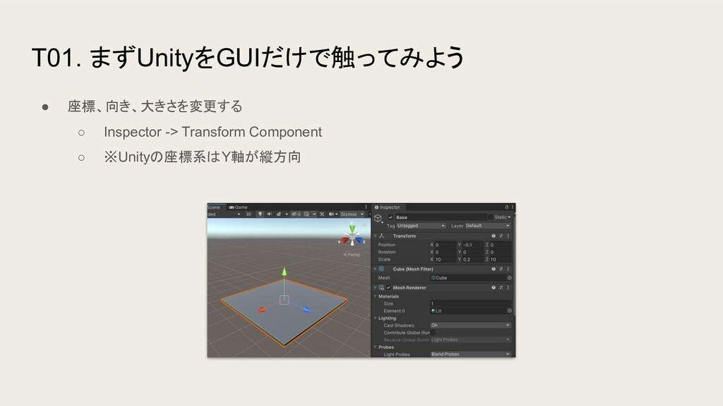 T01. まずUnityをGUIだけで触ってみよう ● 座標、向き、大きさを変更する ○ In...