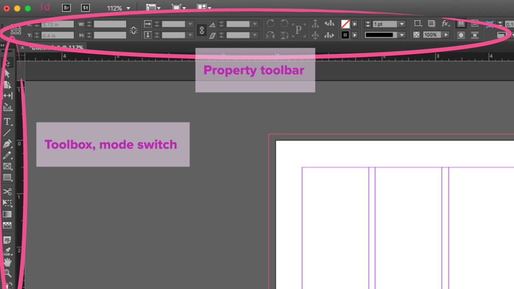 Toolbox, mode switch Property toolbar