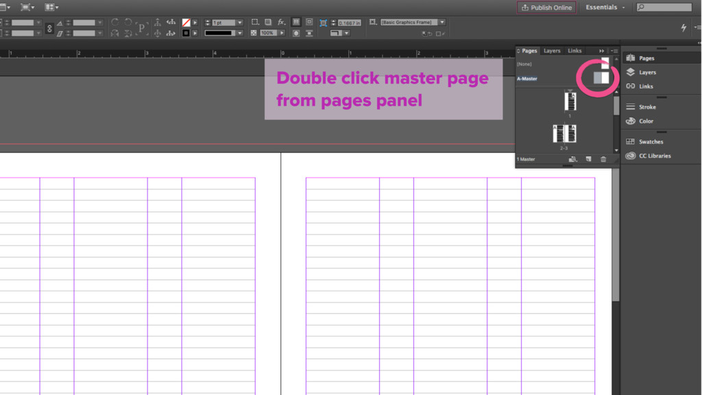 Double click master page from pages panel