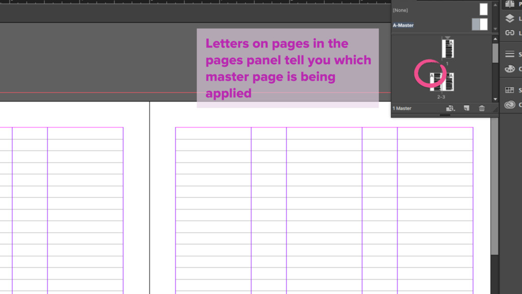 Letters on pages in the pages panel tell you wh...