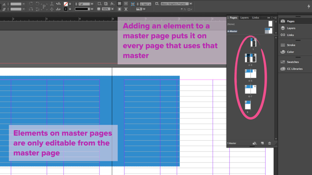 Adding an element to a master page puts it on e...