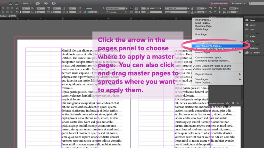 Click the arrow in the pages panel to choose wh...