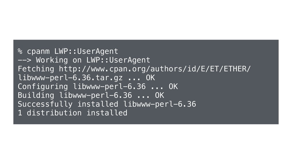 % cpanm LWP::UserAgent --> Working on LWP::User...