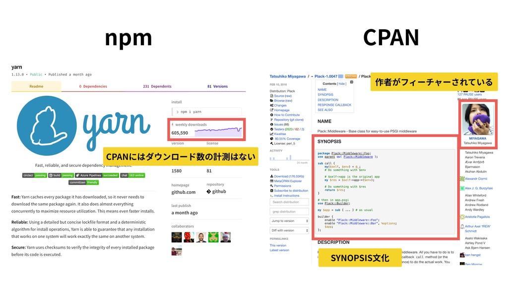 npm CPAN 作者がフィーチャーされている SYNOPSIS⽂化 CPANにはダウンロード...