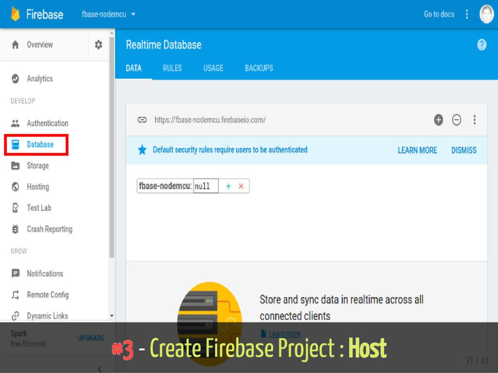 #3 - Create Firebase Project : Host 31 / 43
