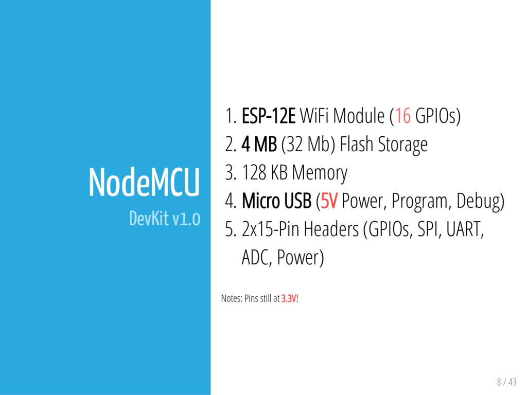 8 / 43 NodeMCU DevKit v1.0 1. ESP-12E WiFi Modu...