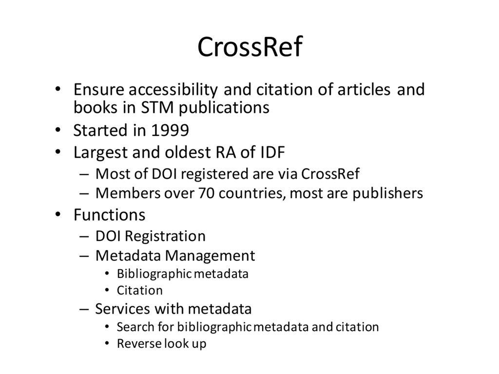 CrossRef • Ensure accessibility and citation of...