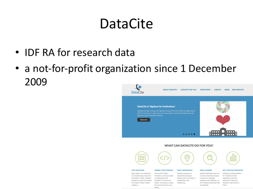 DataCite • IDF RA for research data • a not-for...