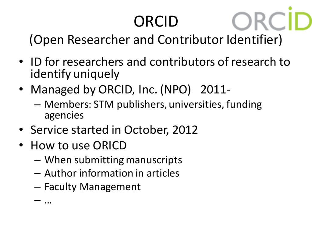 ORCID (Open Researcher and Contributor Identifi...